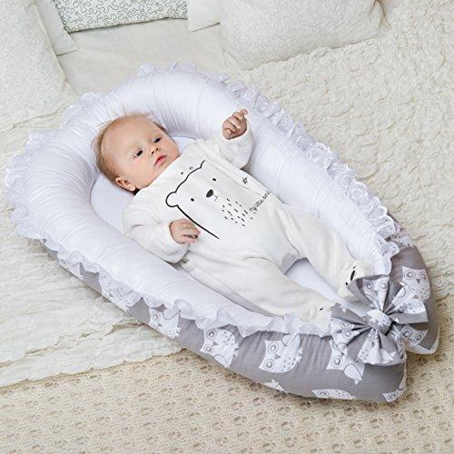 Lappi Baby Unisex Newborn Nest Owls Gray Baby Nest 100