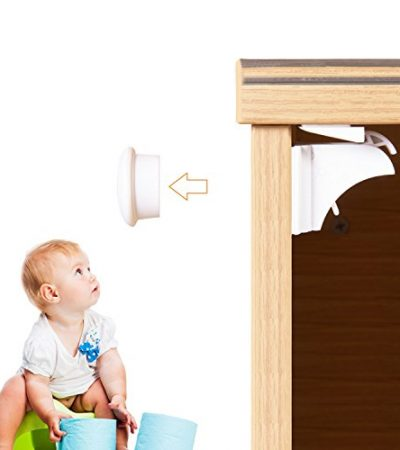 Magnetic Child Safety Cabinet Locks (6 Locks + 2 Keys) with 3M Adhesive for Cabinets & Drawers - Adoric Child Proof Cabinet Locks with Drill-free Easy Installation