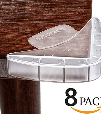 Mekudos Corner Guards - 8 Pack - Baby Proofing - Clear - Ultimate Safety - Large and Soft Bumpers for Furniture - Edge Table Protector Fit for Glass | Wood | Metal - Child Proof Caring Cushion Covers