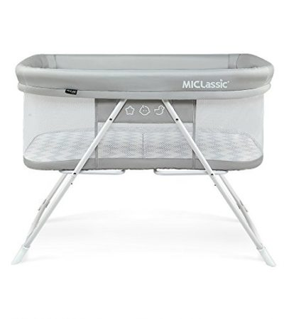 MiClassic 2in1 Rocking Bassinet One-second Fold Travel Crib Portable Newborn Baby,Gray