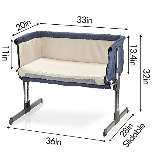 Miclassic Bedside Crib Travel Bassinet Easy Folding Adjustable Portable Newborn Baby Cream