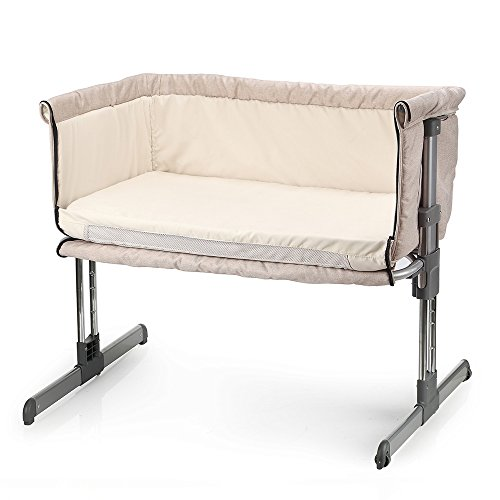 MiClassic Bedside Crib Travel Bassinet Easy Folding Adjustable Portable Newborn Baby,Cream