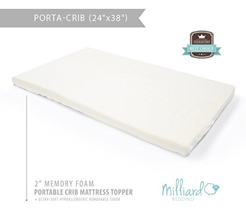 "Milliard Portable Crib Mattress Topper -  2in. Ventilated Memory Foam with Removable Waterproof 65-Percent Cotton Non-Slip Cover - 38"" x 24"" x 2"" - FOR PORTABLE SIZED CRIBS"
