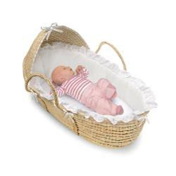 Natural Hooded Moses Basket in White by Badger Basket 3276
