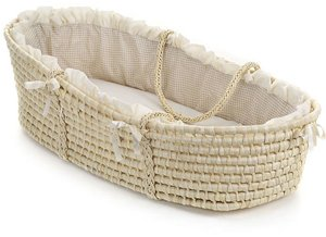 Natural Moses Basket with Beige Gingham Bedding by Badger Basket