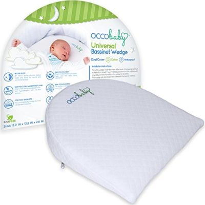 OCCObaby-Universal-Bassinet-Wedge-and-Baby-Sleep-Positioner-Waterproof-Layer-Handcrafted-Cotton-Removable-Cover-12-degree-Incline-for-Better-Nights-Sleep-0