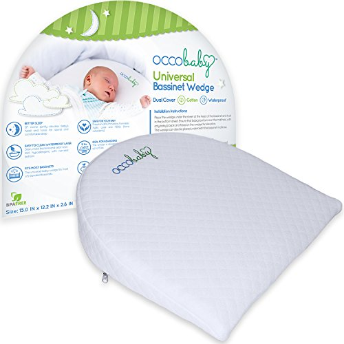 OCCObaby Universal Bassinet Wedge and Baby Sleep Positioner | Waterproof Layer & Handcrafted Cotton Removable Cover | 12-degree Incline for Better Night's Sleep