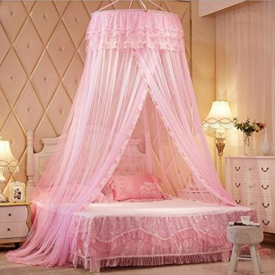 Pink-Princess-Round-Lace-Bed-Canopies-Mosquito-Neting-for-Crib-Twin-Full-Queen-Bed-0