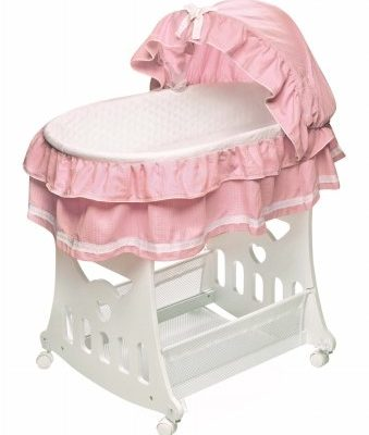 Portable-Bassinet-N-Cradle-with-Toybox-Base-Pink-Waffle-Ruffled-Half-Skirt-0