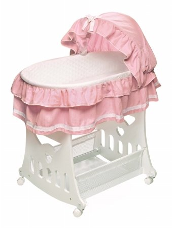 Portable Bassinet 'N Cradle with Toybox Base Pink Waffle Ruffled Half Skirt