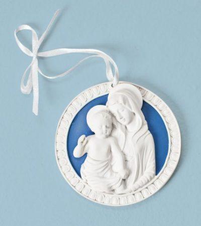 """Roman 3"""" Della Robbia Cradle Medal with Madonna & Child"""