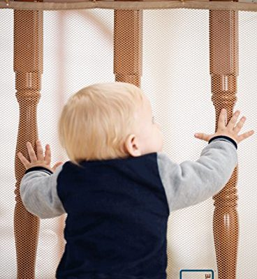 Roving-Cove-Safe-Rail–10ft-L-x-3ft-H–INDOOR-Balcony-and-Stairway-Safety-Net–ALMOND-color–Banister-Stair-Net–Child-Safety-Pet-Safety-Toy-Safety-Stairs-Protector-0