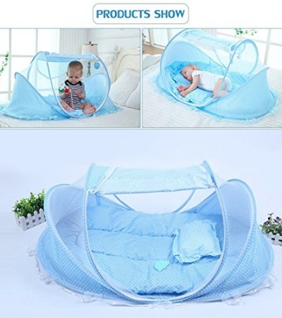 SINOTOP Baby Travel Bed Crib Mosquito Ded Portable Baby Bed Folding Baby Mosquito Net Portable Baby Cots for 0-18 Month Baby (Blue)