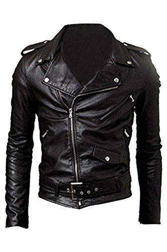 SODIAL(R) Men's Cool Fit Punk Zip Motorcycle Jacket Black XL