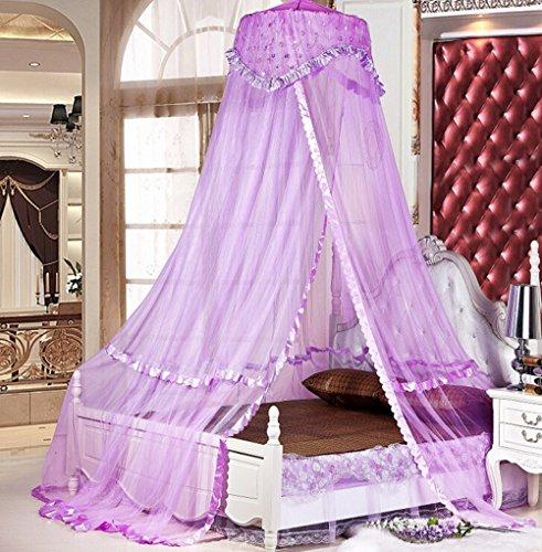 Sinotop Luxury Princess Bed Net Canopy Round Hoop Netting Mosquito Net Bedroom Decor (purple)