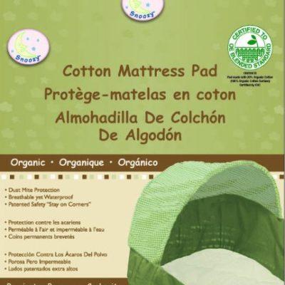 Snoozy-100-Waterproof-Cotton-Bassinet-Pad-Beige-15×30-Machine-Washable-0