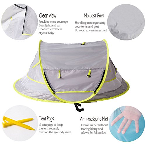Sunnec Large Baby C& Tent ...  sc 1 st  Baby Cribbed & Sunnec Large Baby Camp Tent UPF 50+ Sun Portable Baby Travel Bed ...