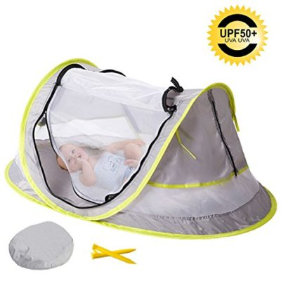 Sunnec-Large-Baby-Camp-Tent-UPF-50-Sun-Portable-Baby-Travel-Bed-Travel-Cribs-Pop-Up-Folding-Beach-Tent-Mosquito-Net-and-2-Pegs-Infant-Beach-Gear-UV-Protection-0