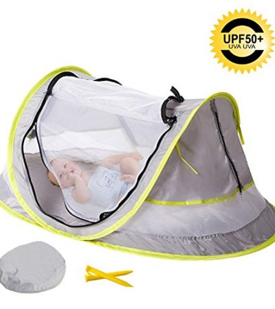 Sunnec Large Baby Camp Tent, UPF 50+ Sun Portable Baby Travel Bed Travel Cribs Pop Up Folding Beach Tent Mosquito Net and 2 Pegs Infant Beach Gear UV Protection
