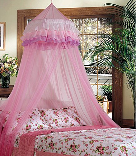 Superbuy Elegant Ruffle Lace Bed Canopy Mosquito Netting Dome Princess