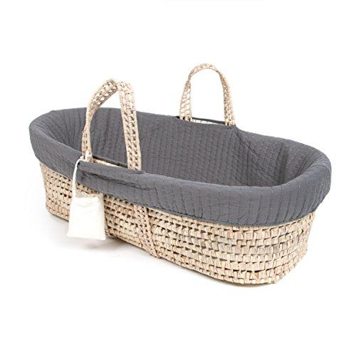 Handmade Moses Basket Bedding : Tadpoles line stitched moses basket and bedding set grey