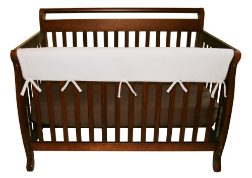 "Trend Lab Fleece CribWrap Rail Cover for Long Rail, White, Wide for Crib Rails Measuring up to 18"" Around!"