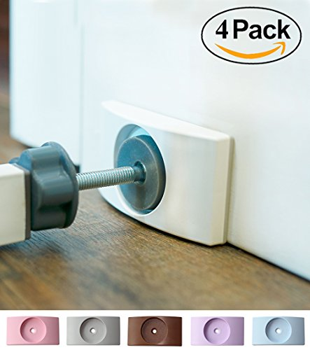 Wall Nanny (4 Pack - Made in USA) Indoor Baby Gate Wall Protector - No Safety Hazard on Bottom Spindles - Small Saver Pad Saves Trim & Paint - Best Dog Pet Child Walk Thru Pressure Gates Guard (White)