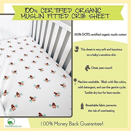 Yourecofamily Muslin Fitted Crib Sheet Certified Organic
