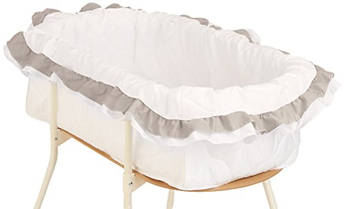 "bkb Double Ruffle Bassinet Bumper, Grey, 16"" x 32"""