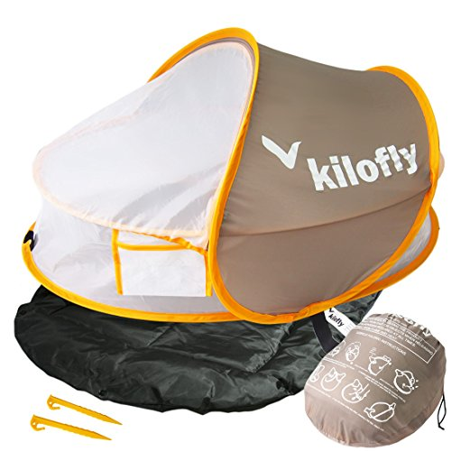 kilofly Instant Pop Up Portable UPF 35+ Baby Travel Bed + Sleeping Pad, 2 Pegs